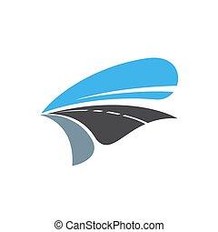 isolé, dessin animé, icône, route, chemin, vecteur, autoroute