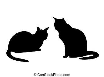 isolé, deux, silhouettes, chats, noir, white., outlines.