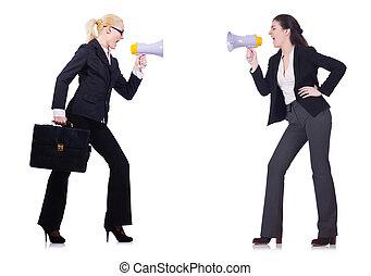 isolé, deux, tenue, blanc, femmes affaires, loudpspeakers