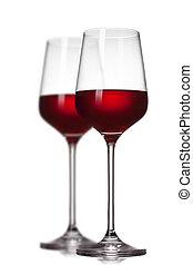 isolé, deux, vin blanc, rouges, lunettes