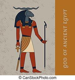 isolé, dieu, figure, egypte, khnum., symbole, deities., ...