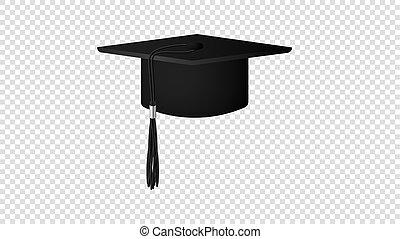 isolé, diplômé, réaliste, vecteur, arrière-plan noir, chapeau, transparent