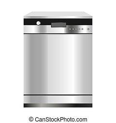 isolé, dishwasher., arrière-plan., vecteur, appareils, maison, graphics., blanc