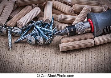 isolé, doigts, clous, métal, travail bois, construction, ...