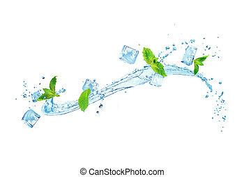 isolé, eau glace, éclaboussure, fond, blanc, menthe