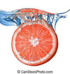 isolé, eau, pamplemousse, laissé tomber, frais, bulles, blanc