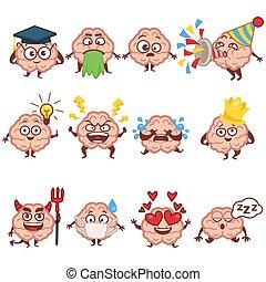 isolé, emoji, intelligent, icônes, caractère, émotions, cerveau, humain, faces