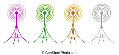 isolé, engendré, radio, fond, antennes, blanc, 3d