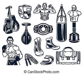 isolé, ensemble, boxe, white., icônes