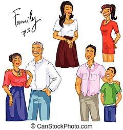 isolé, ensemble, membres famille, 3