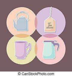 isolé, ensemble, théières, icône, tasse