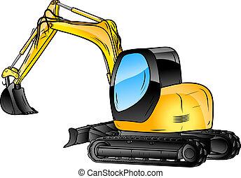 isolé, excavateur