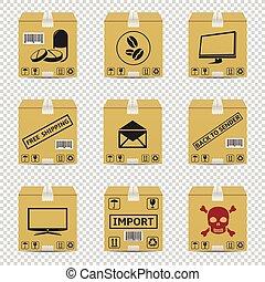 isolé, expédition, boîtes, fond, carton, transparent