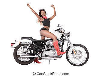 isolé, femme, moto