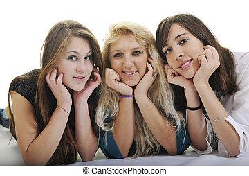 isolé, filles, trois, jeune, blanc, heureux