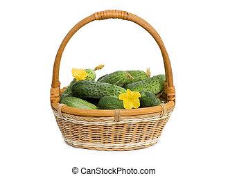 isolé, fleurs, légume vert, concombre