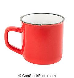 isolé, fond blanc, grande tasse, émail, rouges