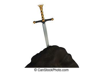isolé, fond blanc, pierre, épée, excalibur