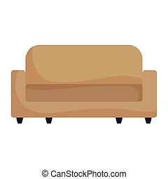 isolé, forniture, icône, sofa, livingroom