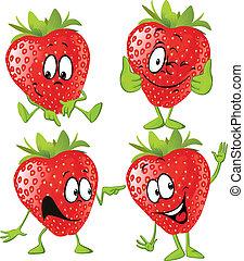 isolé, fraise, fond, mains, blanc, dessin animé