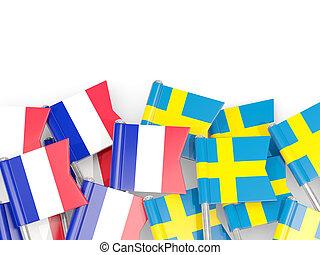 isolé, france, suède, drapeaux, white., epingles