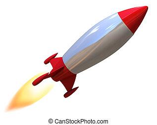 isolé, fusée, 3d