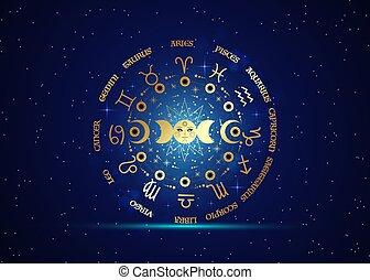 isolé, galaxie, phases, signes, wiccan, triple, lune, soleil, roue, système, orbites, bleu, planètes, vecteur, énergie, circle., zodiaque, fond, or, étoilé, symbole, déesse, lune, païen