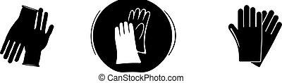 isolé, gants, fond, icône, caoutchouc