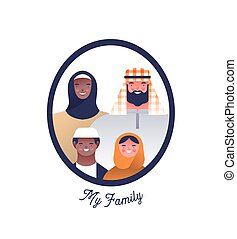 isolé, gens, famille, arabe, cadre, caractère, photo