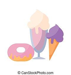 isolé, glace, beignet, délicieux, crèmes, icône