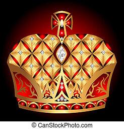 isolé, gold(en), couronne royale, arrière-plan noir