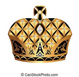 isolé, gold(en), couronne royale, fond, blanc