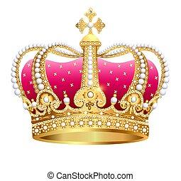 isolé, gold(en), couronne royale, illustration, fond, blanc