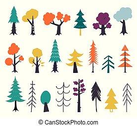 isolé, green., dessiné, arrière-plan., main, vecteur, plat, graphique, elements., rouges, ensemble, arbres, illustration, style., blanc, conception, automne, jaune