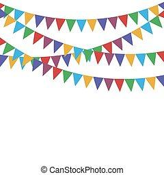 isolé, guirlandes, multicolore, drapeaux, blanc, clair, buntings