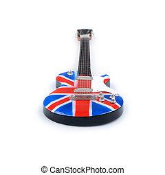 isolé, guitare, drapeau, fond, blanc, grande-bretagne