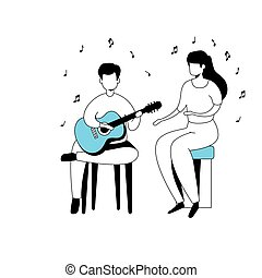 isolé, guitare, icône, couple