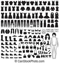 isolé, habillement, silhouette