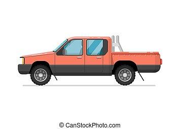 isolé, haut, vecteur, camion, cueillir, icône