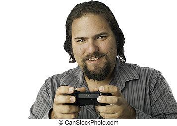 isolé, homme, à, contrôleur jeu vidéo