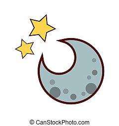 isolé, icône, lune, étoiles, nuit