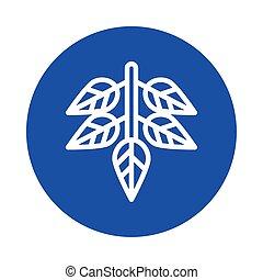 isolé, icône, pousse feuilles, branche