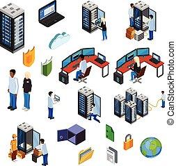 isolé, icônes, ensemble, datacenter, isométrique