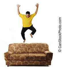 isolé, idée, sofa, haut sauter, conceptuel, type
