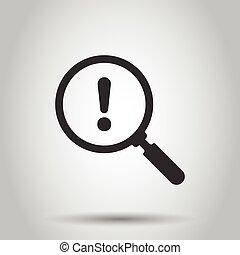 isolé, illustration affaires, style., arrière-plan., concept., exclamation, plat, risque, loupe, icône, attention, analyse, vecteur, blanc