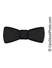 isolé, illustration, arc, arrière-plan., vecteur, cravate noire, blanc