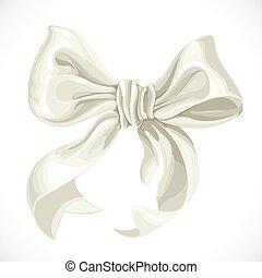 isolé, illustration, arc, vecteur, fond, satin blanc, ruban