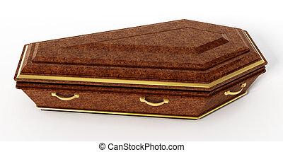 isolé, illustration, arrière-plan., blanc, cercueil, 3d