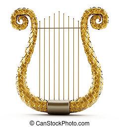 isolé, illustration, arrière-plan., blanc, harpe, 3d