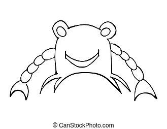 isolé, illustration, arrière-plan., vecteur, noir, crabe, blanc, smile.